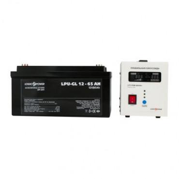 Комплект резервного живлення для котла і теплої підлоги LogicPower ДБЖ 800VA + гелева батарея 1400W