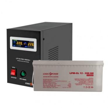 Комплект резервного живлення для котла і теплої підлоги LogicPower ДБЖ B1000VA + гелева батарея 2700W